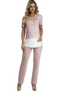 Pijama Recco Em Viscose Stretch E Renda Rosa - Kanui