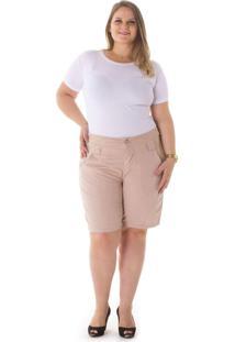 Bermuda Jeans Confidencial Extra Alfaiataria Nude