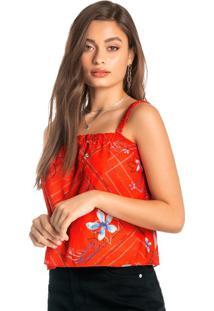Blusa Laranja Ampla Floral Em Algodão