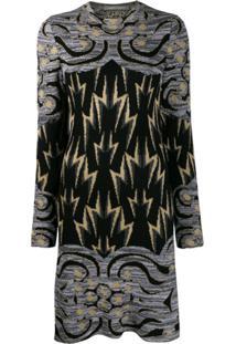 Alberta Ferretti Vestido De Tricô Com Estampa De Relâmpagos - Cinza