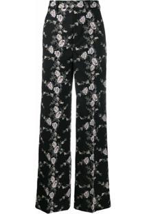 Giambattista Valli Calça Pantalona Com Bordado Floral - Preto