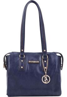 Bolsa Com Recortes & Bag Charm- Azul Marinho- 26X28Xfellipe Krein