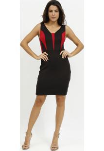 Vestido Com Recortes - Preto & Vermelho- Milioremiliore