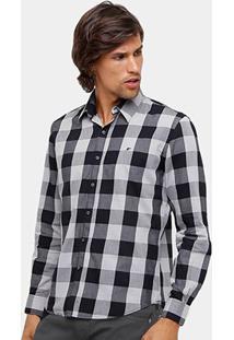 Camisa Xadrez Ellus Manga Longa Classic Fit Masculina - Masculino-Preto