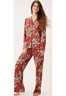 Pijama Joge Pijama Longo Tricot Floral - Multicolorido - Feminino - Dafiti