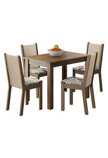 Conjunto Sala De Jantar Madesa Cíntia Mesa Tampo De Madeira Com 4 Cadeiras Rustic/Crema/Hibiscos Rustic/Crema/Hibiscos