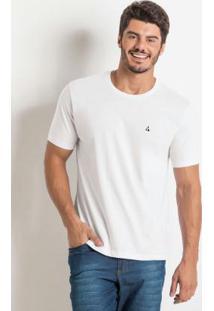 Camiseta Básica Com Detalhe Bordado Branca