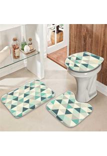 Jogo Tapetes Para Banheiro Triângulos Verders