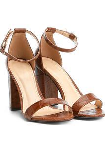 e7204bd90a Sandália Couro Shoestock Salto Grosso Feminina - Feminino-Marrom