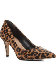 Scarpin Couro Shoestock Pelo Onça - Feminino-Marrom+Preto