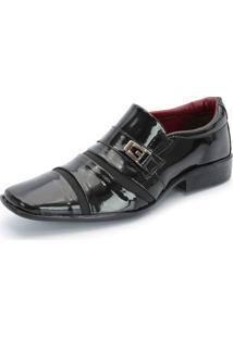 Sapato Social Sintético 803 Preto Verniz Schiareli