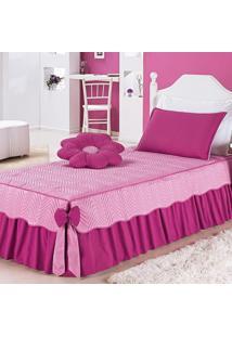 Colcha Dourados Enxovais Mariana Rosa C/ Pink Solteiro 04 Peças,