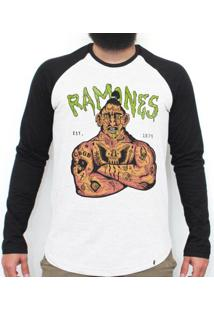 Ramones 74 - Camiseta Raglan Manga Longa Masculina