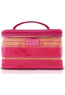 Kit Necessaire 2 Em 1 Tamanho G Listrada Jacki Design Felicita Pink