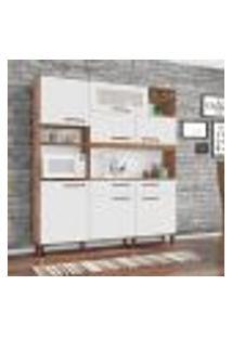 Cozinha Compacta Barcelona 7 Pt 2 Gv Amêndoa E Branco