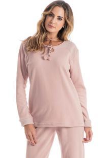 Pijama Citrino Longo Rosa Envelhecido/P