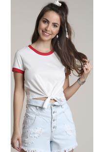 Blusa Feminina Básica Com Amarração Manga Curta Decote Redondo Branca 4