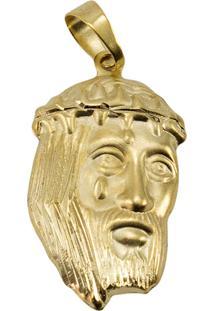Pingente Face De Cristo Tudo Jóias Folheado Dourado