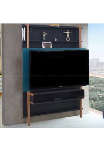 Estante Home Theater Para Tv Até 60 Polegadas Karl 180 X 134,8 X 25,5 Preto/Azul - Urbe Móveis