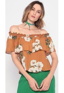 Blusa Tomara Que Caia Floral - Marrom Claro & Verde La Concha