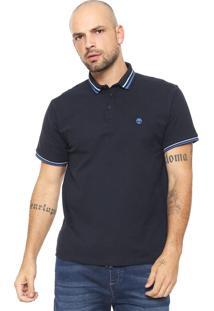 Camisa Polo Timberland Reta Listras Azul-Marinho
