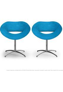 Kit 2 Cadeiras Beijo Azul Turquesa Poltronas Decorativas Com Base Giratória