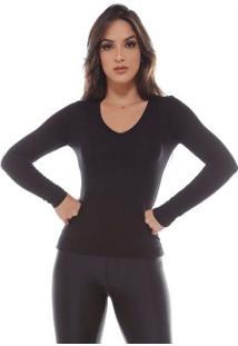 Blusa Moleton Decote Em V Canelado LisoPreto