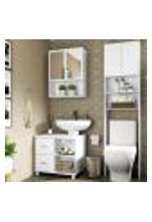 Armário De Banheiro C/ Espelho E 2 Portas, Balcão De Pia E Armário P/ Vaso Sanitário Multimóveis Bco