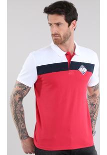 """Polo Em Piquet Com Patch """"Navy Union"""" Vermelha"""