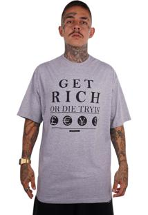Camiseta Wanted Ind Get Rich Cinza