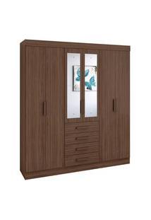Guarda Roupa Casal C/ Espelho 6 Portas 4 Gavetas Celebrare Móveis Lopas Marrom