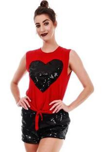 Blusa Com Nó Jogabe Na Frente Feminina - Feminino-Vermelho