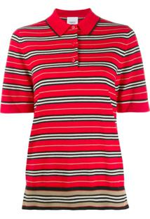 Burberry Blusa Polo Listrada - Vermelho
