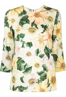 Dolce & Gabbana Floral Print Silk Blouse - Amarelo
