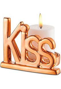 Porta Vela Dourado Kiss 8,7X7,2X7 Cm