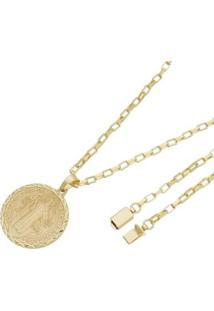 Pingente São Bento Com Corrente Cartier Gaveta Tudo Joias Folheado A Ouro 18K - Masculino-Dourado