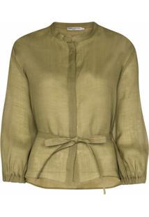 Three Graces Blusa Haddie Com Abotoamento E Amarração Na Cintura - Verde