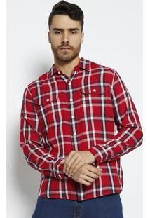 Camisa Xadrez Com Bolsos- Vermelha & Azul Marinholevis