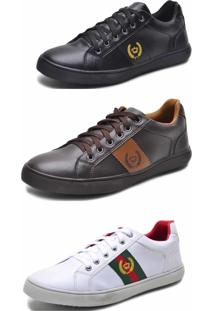 Kit 3 Pares Sapatênis Casual Mine Shoes Multicolorido