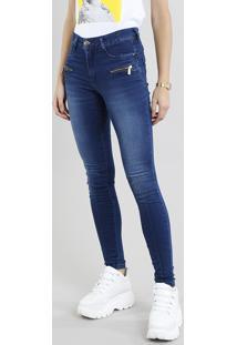 Calça Jeans Feminina Sawary Super Skinny Com Recorte Azul Médio