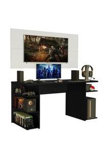 Mesa Gamer Madesa 9409 E Painel Para Tv Até 50 Polegadas Preto/Branco Preto