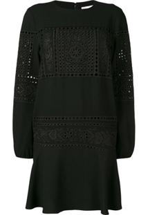 Red Valentino Lace Embroidered Dress - Preto