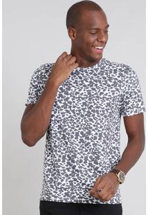 Camiseta Masculina Estampada Animal Print Manga Curta Gola Careca Branca