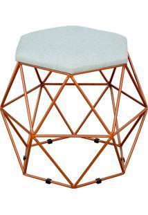 Puff Decorativo Aramado Bronze Six Linho Cinza - Lyam Decor