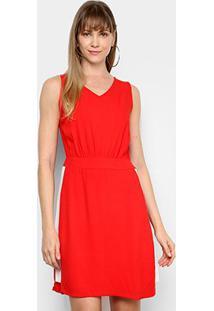 Vestido Mercatto Faixa Lateral - Feminino-Vermelho