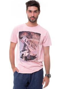 Camiseta D'Affari Estonada Com Estampa Masculino - Masculino-Rosa