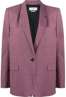 Isabel Marant Étoile Blazer Xadrez Com Botão Único - Rosa