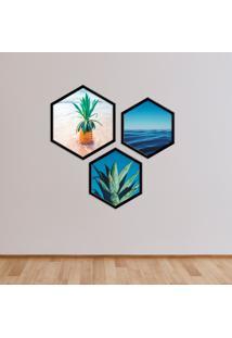 Kit 2 Quadros Com Moldura Hexagonal Pineapple