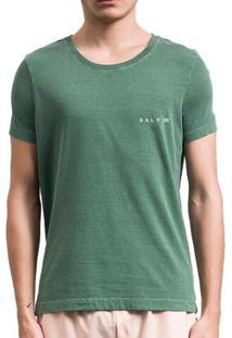 Camiseta Salt 35G Básica Estonada Militar Masculina - Masculino-Verde