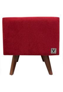 Puff Pé Palito Quadrado Alce Couch Suede Animale Vermelho 40Cm